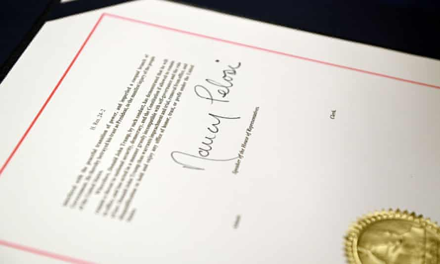 The signature of Nancy Pelosi on the article of impeachment during an engrossment ceremony after the House voted to impeach Trump.