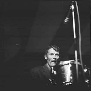 A previously unpublished shot of drummer Ginger Baker playing with the Graham Bond Organisation at Richmond jazz festival, 1965