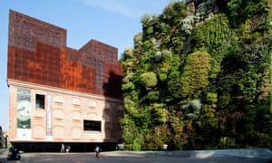 Green wall at the CaixaForum in Madrid.