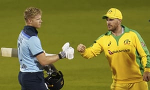 England's Sam Billings congratulates Australia captain Aaron Finch on their victory