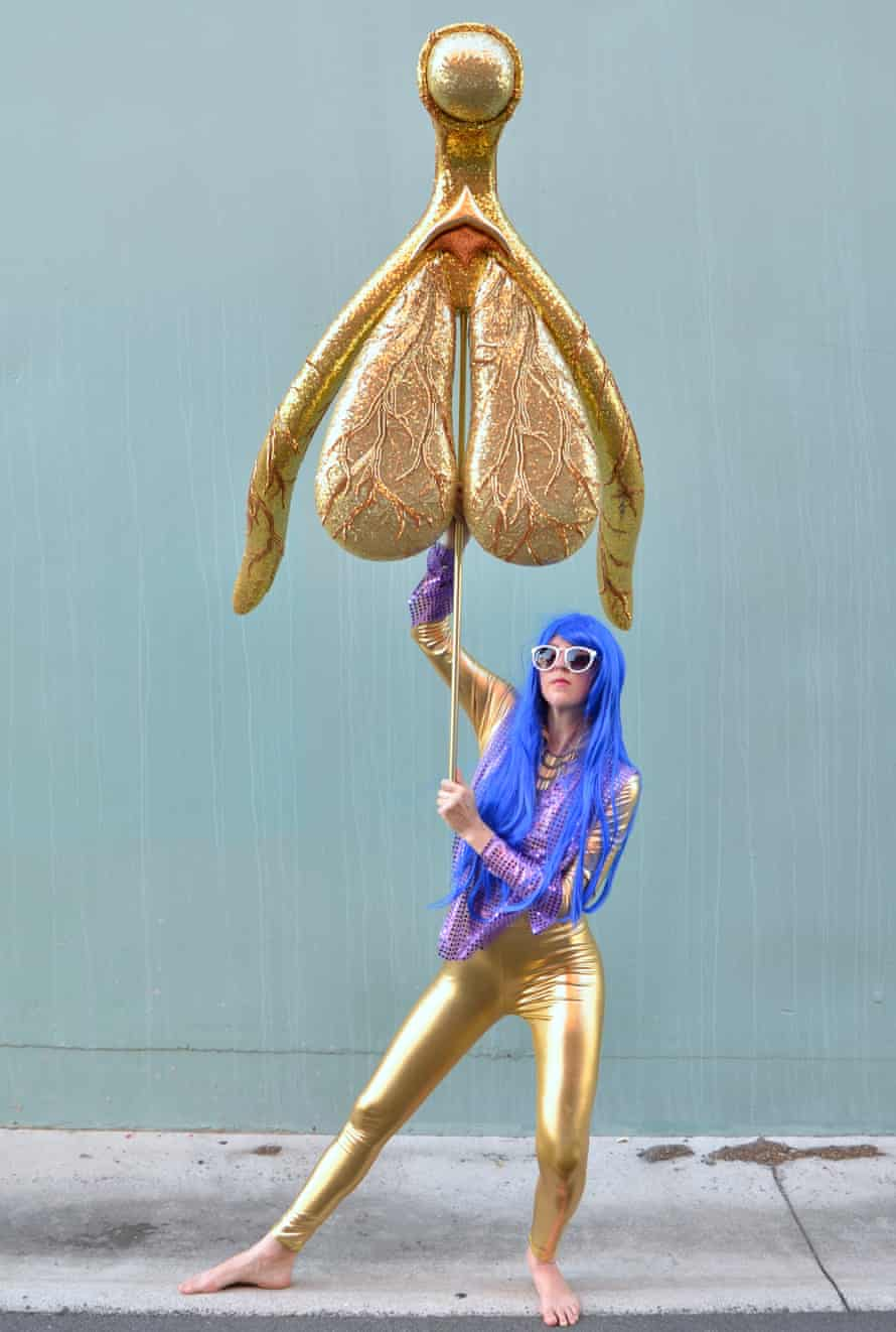 The Glitoris, a giant, gold clitoris devised by the Sydney artist Alli Sebastian Wolf to highlight lack of understanding in the female anatomy.