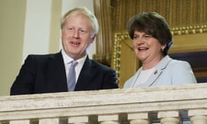 Boris Johnson with the DUP Leader Arlene Foster at Stormont in Belfast today.