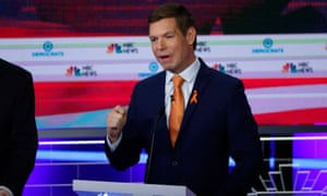 Eric Swalwell speaks during the first debates between the Democratic 2020 candidates in Miami, Florida.