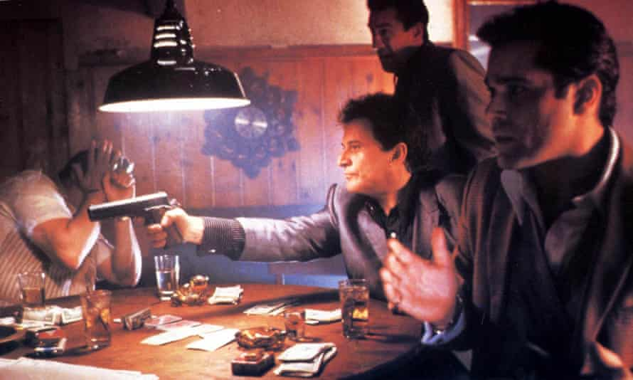 Duplicitous and aggressively comic … Joe Pesci, centre, Robert De Niro, top, and Ray Liotta, right.