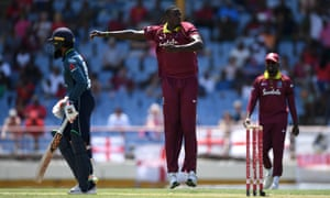 West Indies captain Jason Holder celebrates dismissing Adil Rashid of England.