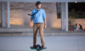 The US government says hoverboard users should 'gear up' with a skateboard helmet and elbow and knee pads.