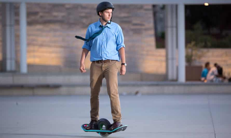 Man riding a 'hoverboard'