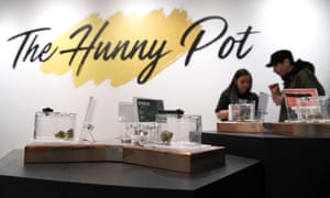 Customers and staff at the Hunny Pot in Ontario on 1 April.