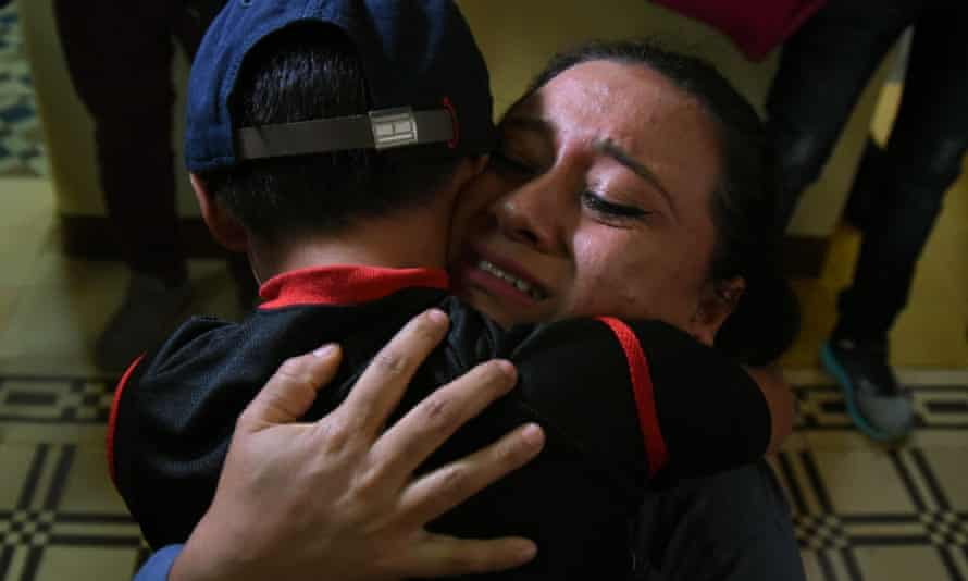 Lourdes de Leon hugs her son Leo, one of three minors who had been separated from their family on the US border, August 2018.