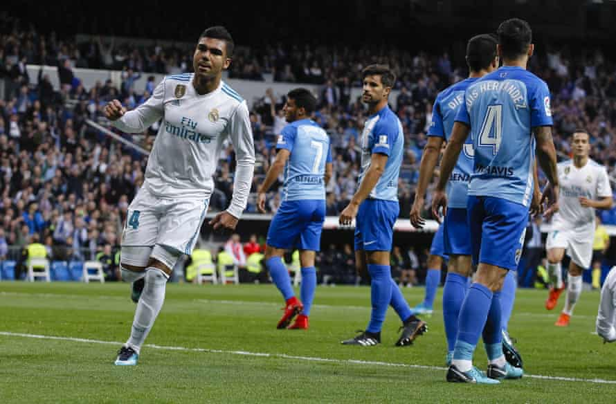 Casemiro celebrates after scoring in the 3-2 win.