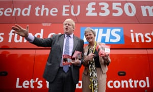 Johnson in front of Vote Leave's controversial campaign bus pledging to divert government funds from the EU to the NHS.