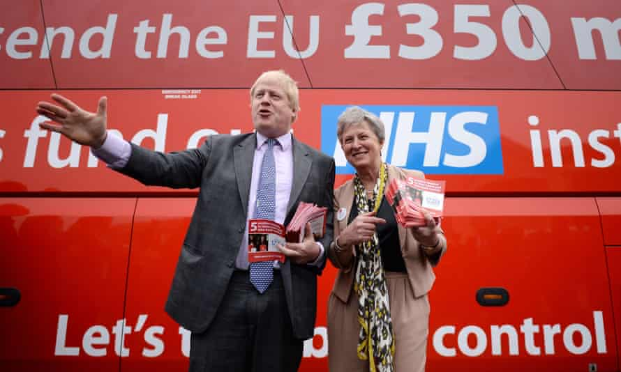 Boris Johnson standing in front of the Vote Leave bus in May 2016