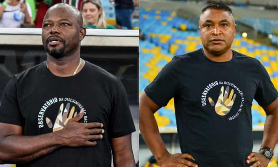 Fluminense coach Marcão and Bahia coach Roger both wore anti-racism T-shirts before their teams met at the Maracanã.