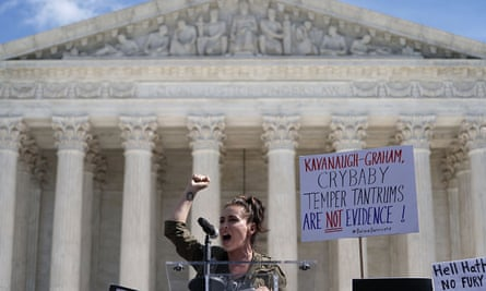 The actor Alyssa Milano speaks in front of the supreme court in Washington.