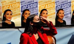 Alexandria Ocasio-Cortez on a campaign stop in Queens on 23 June.
