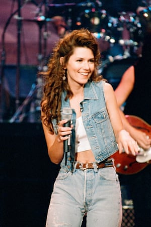 Shania Twain performing on the Tonight Show with Jay Leno in 1995