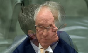 A double exposure of Bill Shorten and Malcolm Turnbull during question time