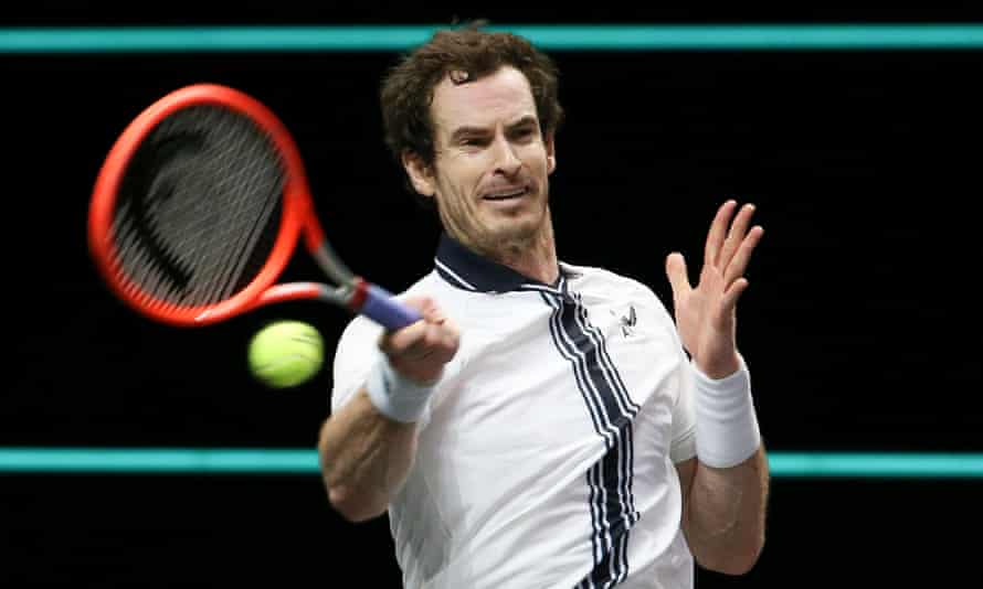 Andy Murray in action in Rotterdam earlier this month. He withdrew from the Miami Open after sustaining a 'freak' groin strain in bed.