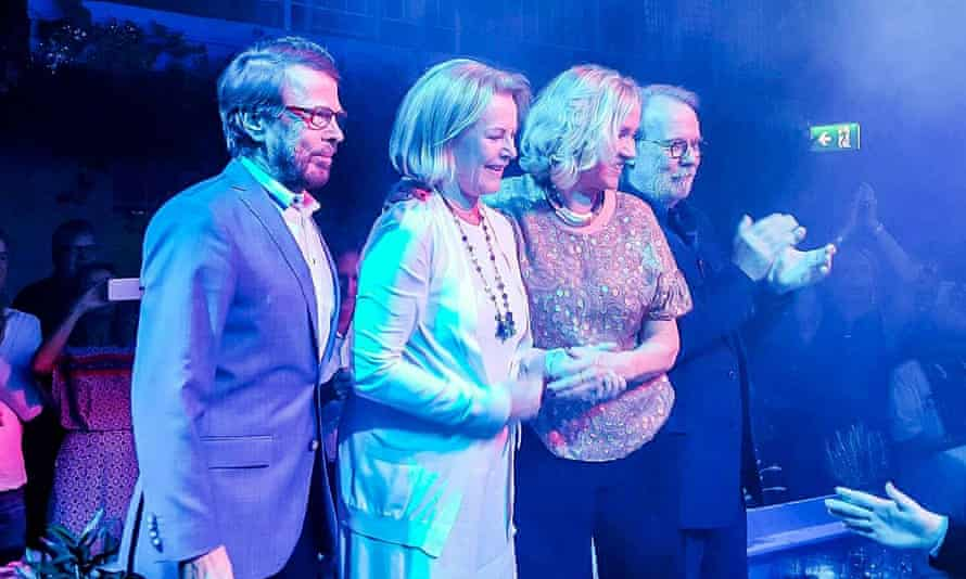 Super troupers … the original members of Abba line up at the opening of Mamma Mia! The Party in January.