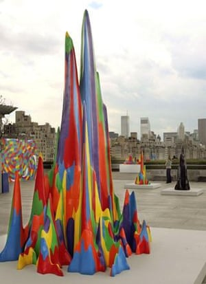 Splotch #15, foreground, one of five sculptures and a wall drawing by American artist Sol LeWitt, is shown in the Iris and B. Gerald Cantor Roof Garden of The Metropolitan Museum of Art, in New York