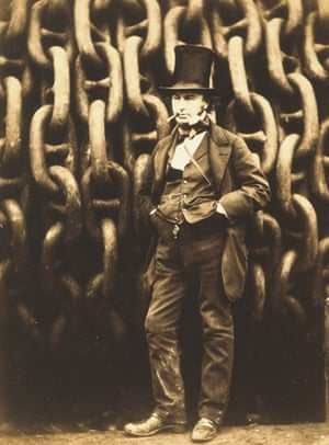 Isambard Kingdom Brunel by the Launching Chains of the Great Eastern, Millwall, Isle of Dogs, by Robert Howlett (1851)
