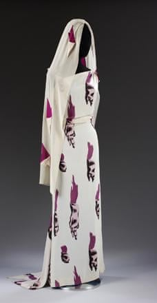 Evening dress and headscarf in Tear design, Elsa Schiaparelli, Summer/Fall 1938