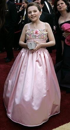 Almost certainly the cutest nominee on the carpet, Abigail Breslin is up for best supporting actress for Little Miss Sunshine