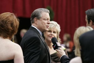 Former vice president Al Gore and his wife Tipper. Mr Gore's film An Inconvenient Truth is nominated in the documentary category. We don't expect him to do a Michael Moore.