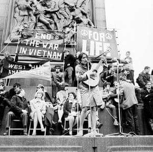 American folk singer Joan Baez performs at an anti-Vietnam War demonstration in London