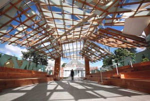 Visitors explore the newly opened pavilion