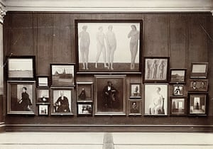 Photograph of works by Vilhelm Hammershøi exhibited at The Artists' Study School exhibition at Charlottenborg around New Year 1896.