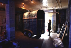 Art by Paul Archard, a horse box which makes horse noises, in the basement of of Shoreditch Town Hall