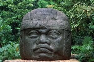 Colossal stone head, La Venta archaeological site,