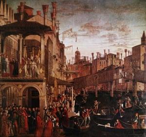 Vittore Carpaccio, Miracle of the Relic of the True Cross at the Rialto Bridge (1494)