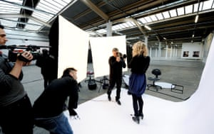 Rachel Shields being photographed by Rankin