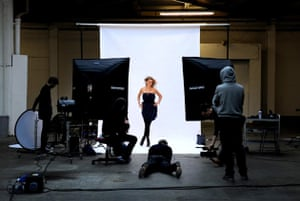 Rachel Shields being photographed by Rankin from afar