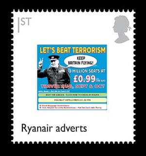 British design stamps alternative: Ryanair adverts