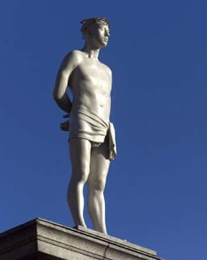 Ecce Homo by Mark Wallinger being removed from the fourth plinth in Trafalgar Square