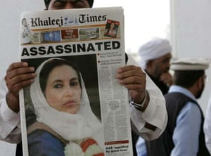 Newspaper about Bhutto's assassination