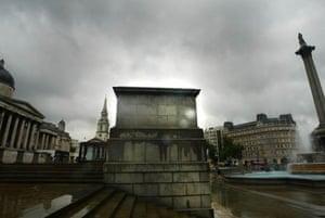 The empty fourth plinth in Trafalgar Square