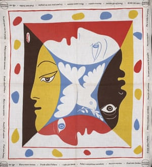 A scarf designed by Pablo Picasso to commemorate the World Festival of Youth and Students for Peace, Berlin, August 1951.