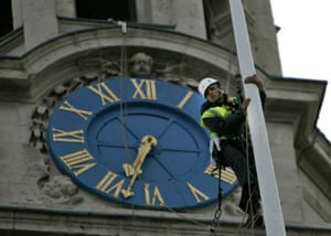A worker on the tower at St Martin-in-the-Fields