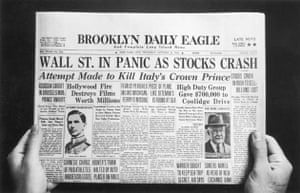 The front page of the Brooklyn Daily Eagle, published on the day of the initial Wall Street Crash, known as Black Thursday
