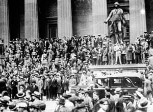 Huge crowds outside the Sub Treasury Building at the time of the Wall Street Crash