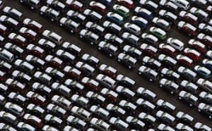 Unsold cars at Avonmouth Docks