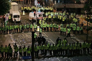 Police clash with a group of around 40 people