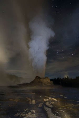 The Castle Geyser in Yellowstone National Park