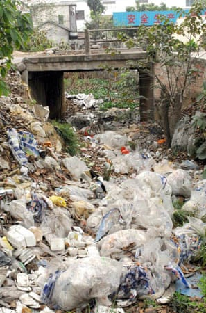 Plastic waste clogs streams and waterways in China