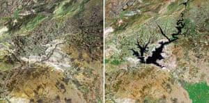 September 2 1976, Euphrates river, Turkey and September 1 1999, after construction of the Atatürk Dam