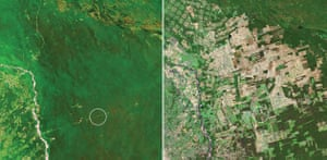 June 1975, Tropical rainforest, Santa Cruz, Bolivia and May 2003, Lost forest, new farmland